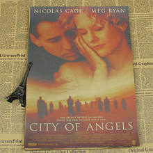 about movie poster for USA city of angels wall pictures Kraft Paper Poster Bar Cafe Living Room Wall Art Crafts Sticker TH-809