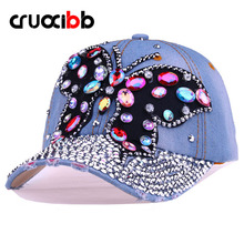 CRUOXIBB Baseball Cap Women Full Crystal Colorful Big Butterfly Hat Denim Bling Rhinestone Snapback Cap Casquette Summer Hat(China)