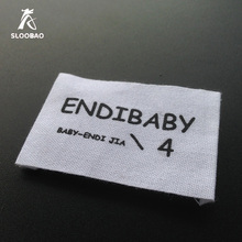 Free Shipping cotton fabric labels custom clothing tags baby clothing tags customized cotton labels with logo or brand name(China)