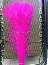 "New! Free shipping wholesale 100 pcs / lot high-quality Rose red peacock feathers, 75-80cm / 30-32 ""DIY jewelry decoration"