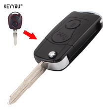 KEYYOU NEW 2 BUTTONS Flip Folding Car Remote Key Case SHELL For Ssangyong Actyon SUV Kyron With LOGO Free Shipping