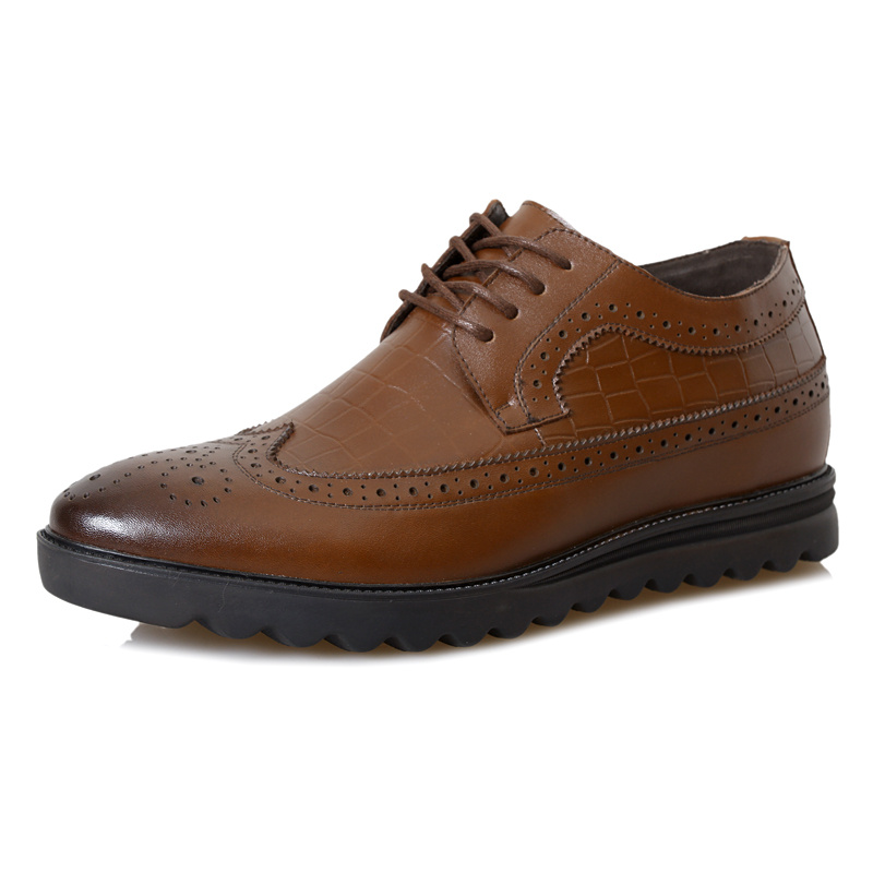 2.36 Inches Taller-Genuine Leather Heightening Elevated Brogue Fashion Business Casual Shoes<br><br>Aliexpress