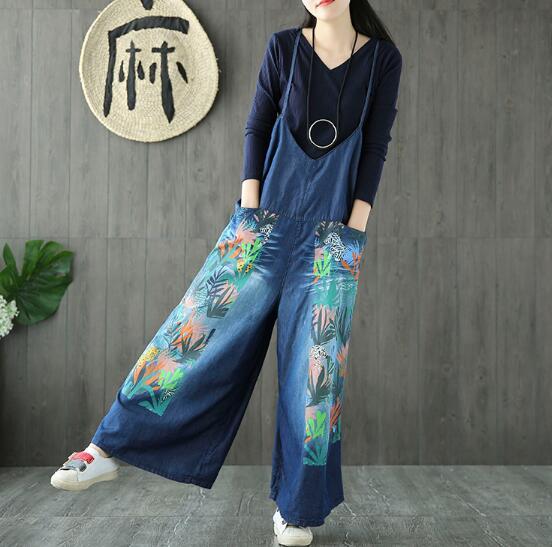 Retro art color flower printing denim jumpsuits  denim Wide leg pants pants overalls 2017Îäåæäà è àêñåññóàðû<br><br>