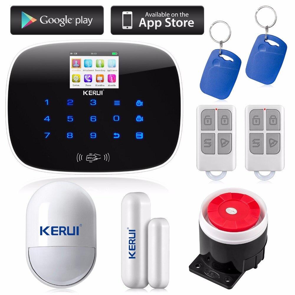 KERUI Android IOS APP 433MHz TFT color Screen UI menu GSM Alarm System SIM Card Phone call sms Alarm Security door open remind<br><br>Aliexpress