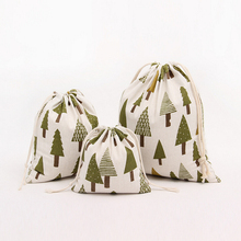 Green Trees Cotton Linen Storage Bag Eco-Friendly Shopping Tea/candy/key Package Drawstring Bag Small Cloth Bag Christmas Gift(China)