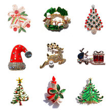 Elegant Pin Gold Color Christmas Tree Women Gift Christmas Garments Breast  pin Accessories Jewelry Painted Brooch Rhinestone a9e8e3fd78d4