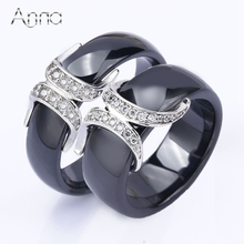 A&N Wholesale New Rings For Women Jewelry Black Ceramic Stainless steel Simple Rings Personality Cubic Zircon Ring Unique Gifts