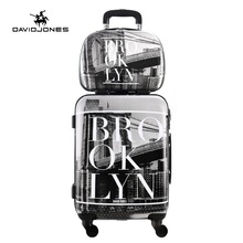 DAVIDJONES 2 Piece carry-on cabin suitcase & cosmetic case vintage print trolly suitcase(China)