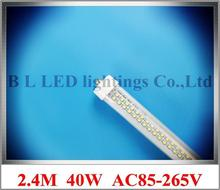 FA8 single pin LED tube light lamp SMD 3528 576led LED lighting tube T8 2.4m 2400mm 8ft AC85-265V 40W CE ROHS double line