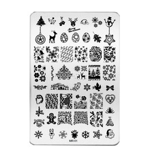 1Pcs Nail Art Stamping Plates Christmas Xmas Image Templates Polish 14.5*10.5cm Rectangle Stamp Stencil Manicure Tools BEMR-01