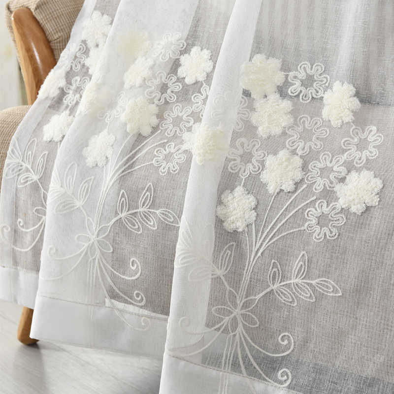 Cotton and Linen White Embroidered Voile Korean Pastoral Living Room Bedroom Bay Window Terraces Finished Curtain Tulle