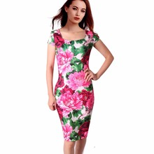 Casual Dresses 26 Styles Floral Print Vestidos Summer Sheath Women Dress Free Shipping 004-18(China)