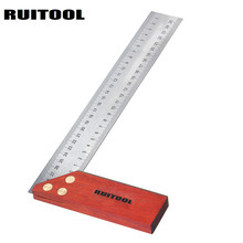 RUITOOL 90 Degree Angle Ruler 300mm Stainless Steel Metric Marking Gauge Wooden Base Woodworking Square(China)