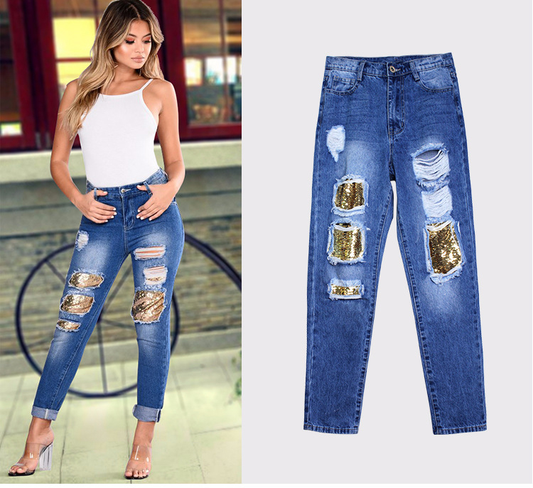2018 Casual European Station Europe and the United States Style BF Wind Women Sequin Straight Hole Large jeans New Loose pants (6)