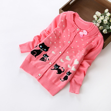 Korean Version Girls Sweater Coat O-neck Jacket Computer Knitted Casual Sweaters Kids Children Clothing Bow Sweet Style
