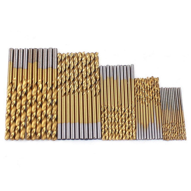 Hot Selling 50pcs 1/1.5/2/2.5/3mm HSS High Speed Steel Drill Bit Set Tools Titanium Coated VEP37