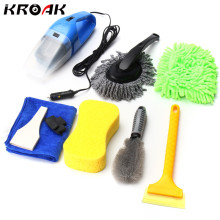 Car Cleaning Kit 8 PCS Set Products Tools To Wash Clean Interior Exterior Vacuum Cleaner+Shovel+Sponge+Glove For Car(China)