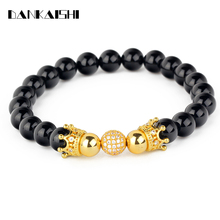 2017 Fashion Strand Bracelet Male Women Beads Bangles Crown Elastic Natural Stone Bracelets Jewelry Pulsera DKS-BR033(China)