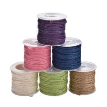 6 Colors 10 M Natural Hessian Jute Twine Rope Burlap Ribbon DIY Craft Vintage Wedding Party Decor(China)
