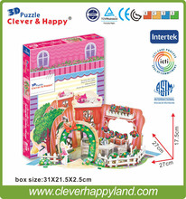 romantic flower shop 3d jigsaw puzzle hot product 2014 new design diy doll house(China)