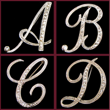 2017 New Brand 26 Letter Brooches Pin Best Crystal Rhinestone High quality Silver Plated Brooch For Women Accessories Gift