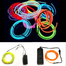 6.5FT 9.8FT 16.5FT Waterproof  Battery Powered Led String Flexible Neon Light Glow EL Wire Rope Tape Shoes Clothing Car wedding