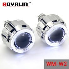 ROYALIN Halogen Lens H1 Projector Headlight Lens W2 CCFL Halo Rings Angel eyes White Red Blue for H4 H7 Car-Styling Xenon Lamps(China)