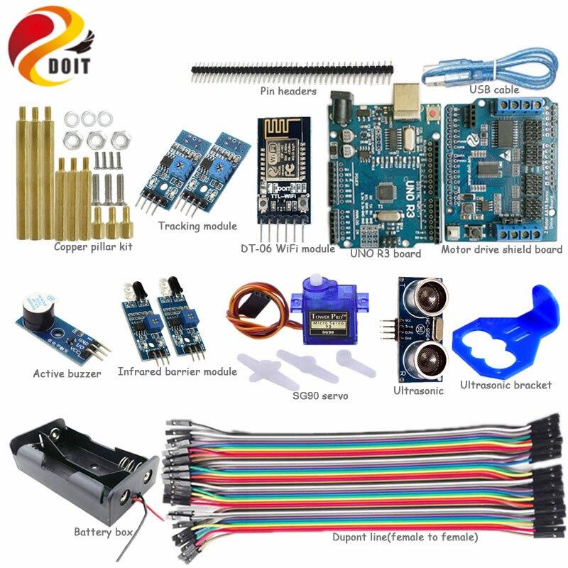 Officail DOIT WiFi Control Avoidance Tracking Smart Arduino Car Kit with Arduino UNO R3 Board+Ultrasonic+Buzzer+SG90 Servo DIY <br>
