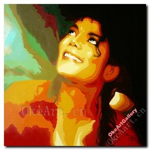 Hand Painted Modern Oil Painting On Canvas POP Art Audrey Michael Jackson Portrait M004 Home Decoration Wall Pictures