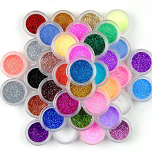 45pcs/Set Nail Glitter Powder Mix Size Glitter Powder Dust  Decoration Brilliant UV Nail Glitter Powder Mix Color Acrylic Dust