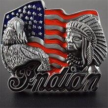 Belt Buckle Metal 84MM Indians Eagle Logo DIY Mens Clothes Luxury Brand Designer Cowboys Flag Buckles Belt Christmas Gifts(China)