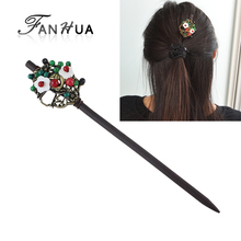 FANHUA Hair Jewelry Vintage Style Antique Gold-Color with Green Red Beads White Flower Hair Sticks Hairwear For Fashion Women