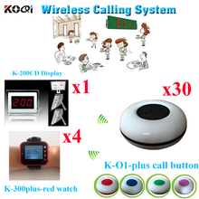 Wireless Restaurant Call System Waiter Server Paging Service -Table Calling Button( 1 display with 4 watch and 30 buzzer)