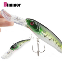 Brand 1Pcs Big Floating Minnow Artificial Plastic Deep Diver Hard Lures Fishing Wobbler Hard Bait Crankbait with 2 Treble Hooks