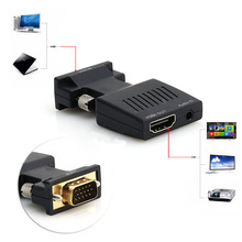 New 1080P VGA Male to HDMI Female Video Adapter + Stereo Audio Cable + USB Cable High Quality VGA Male to HDMI Female Adapter
