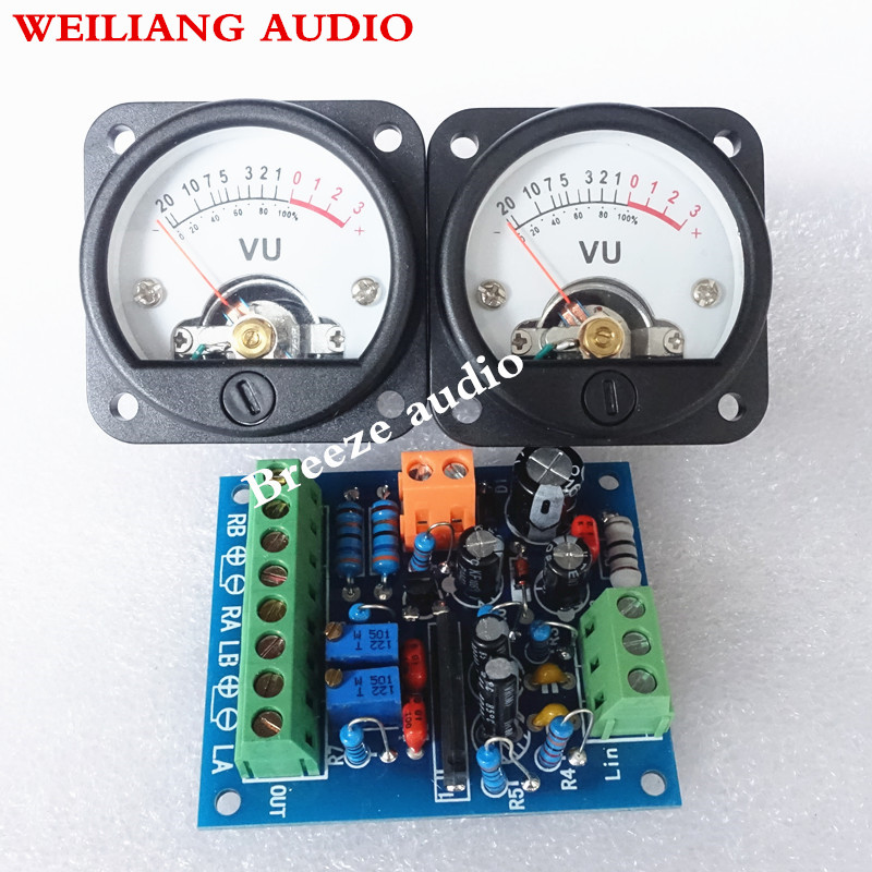 1PCS driver 2PCS Panel VU Meter Warm Back Light Audio Level indicator driver board Speakers Amplifier