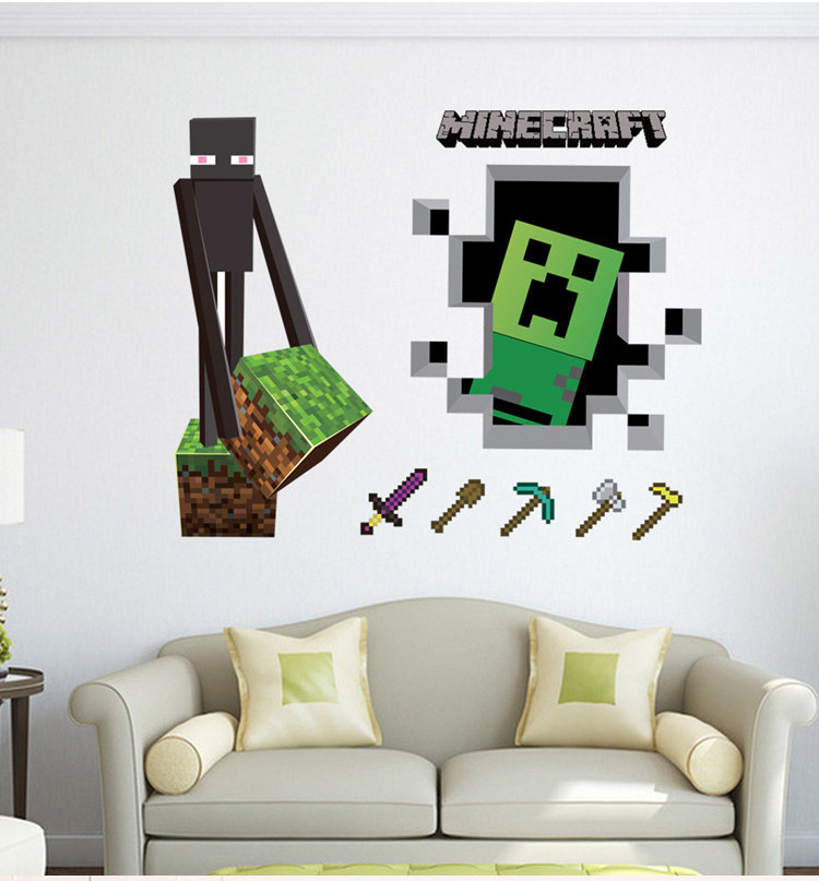 HTB1r lIawAq0eJjSZFtq6A.qVXaB - Newest Minecraft Wall Stickers 3D Wallpapers Kids Room Decals Minecraft Steve Home Decoration Popular Games Home Free Shipping