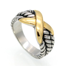 Europe and the United States big antique titanium steel women ring between the infinite logo retro ring rope crossover X ring(China)