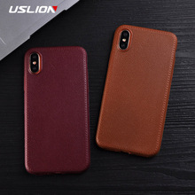 Buy USLION Phone Case iPhone X Retro Solid Color PU Leather Texture Cases Soft TPU Silicon Back Cover Coque iPhoneX for $1.09 in AliExpress store