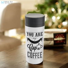 Personalized Abstract Modern BPA Free Plastic Insulated Black White Minimalist Coffee Quotes Office Water Bottle 300ml Gifts(China)