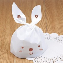 50pcs/lot Lovely White Rabbit Ear Biscuit Bag Cookie Flat Bags for Food Cake Biscuits Snack Package Bakery Gift Packing