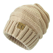 1pc Sale Women Winter Beanies Men/Female Hat 2016 Hot Europe CC Tag letter Label Knitting Cap Sleeve Cap Outdoor Warm Hat WQ246