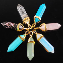 Free shipping Mixed Colors 7PCS Gem Stone Hexagonal Healing Pointed Reiki Chakra Gold Charm Pendant Bead Jewelry TC2046