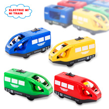 4 Colors Kids Electric Train Toys 10.5*4CM Magnetic Wooden Slot Diecast Electronic Vehicle Toy Birthday Gifts For Children Kids(China)