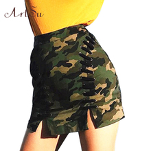 Buy ArtSu Sexy Lace Camouflage Mini Skirt Women Bodycon High Waist Pencil Skirts Autumn Winter Casual Split skirts 2017 ASSK30014 for $12.81 in AliExpress store