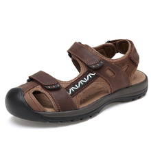 28-65 Summer Men Sandals Casual Leather Sandals Men Soft Breathable(China)