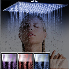"bathroom shower head Luxury Chrome Brass LED Square Rain Shower Head Top Over Shower Sprayer For 8"" /10"" /12"" /16"" /20"" /24""(China)"