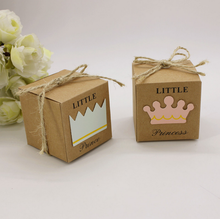 50 x European Little Prince Princess Square Kraft Paper Wedding Favors Baby Shower Candy Boxes Party Gift Box With Hemp Ropes