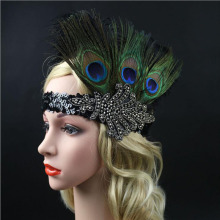 Luxury Sequins Peacock Black Feather Flapper Headband Party Wedding Hair Accessories Great Gatsby India Headpieces(China)