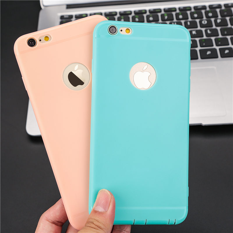 Candy Color Case for iPhone 7 7Plus 8 8Plus! soft Cell Phone case For iPhone 6 6S 6Plus 6sPlus Dust plug Logo Window TPU cover(China)